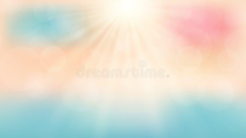在海滩的夏季时间有阳光天背景 库存例证