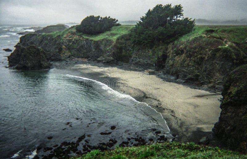 在海滩的大风天在Mendocino,加利福尼亚 免版税库存照片