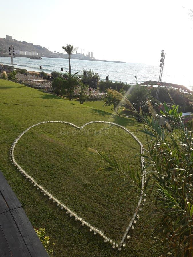 在海滩的婚礼事件在黎巴嫩 免版税库存图片