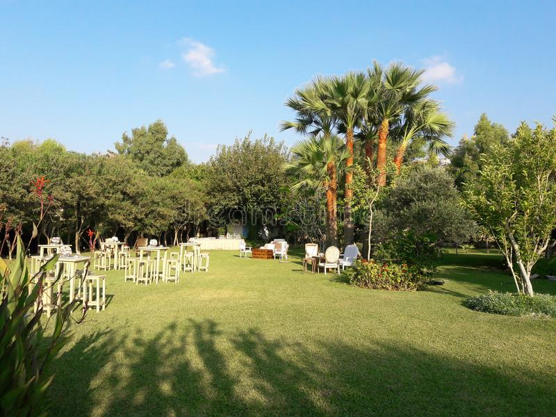 在海滩的婚礼事件在黎巴嫩 免版税库存照片
