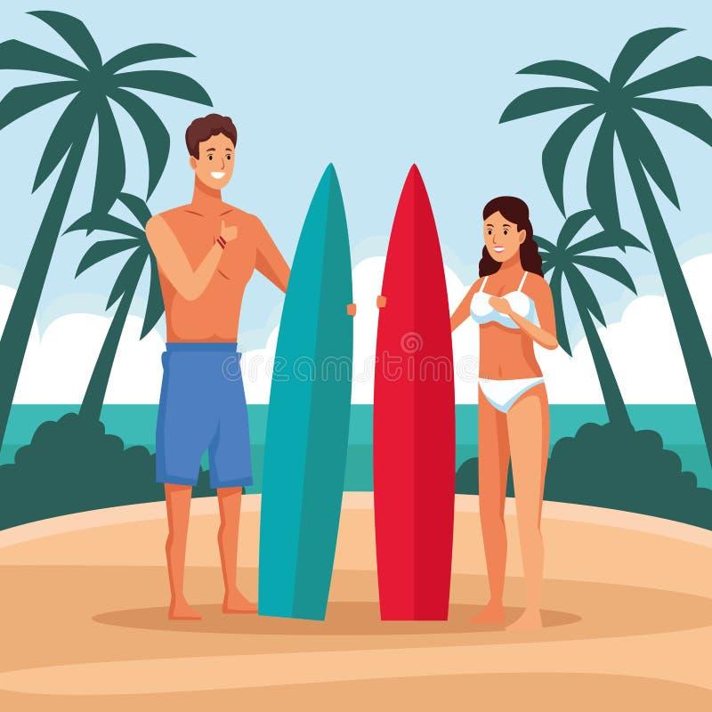 在海滩的年轻夫妇 库存例证