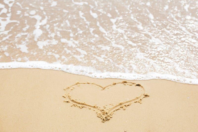 在海滩的心脏标志 在沙滩和海波浪的心脏标志与泡沫 爱和你好夏天概念 假期,放松和 免版税库存图片