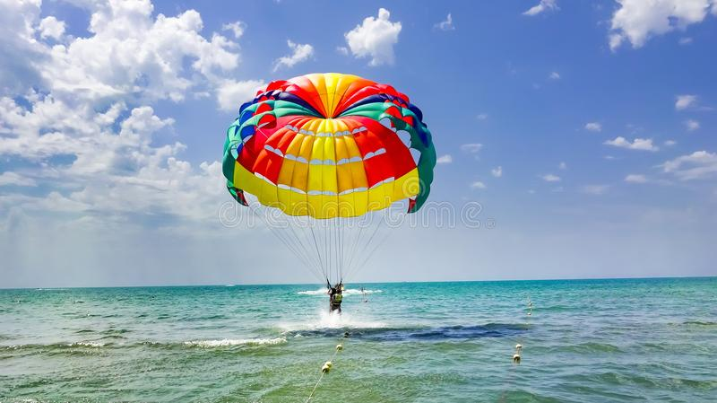 在海滩的愉快的夫妇帆伞运动在夏天 图库摄影