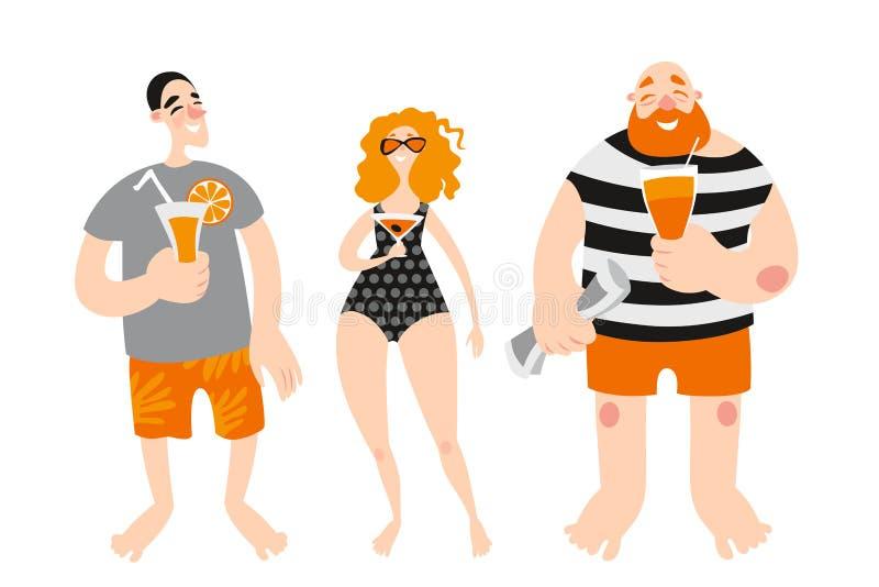在海滩的愉快的青年人饮用的鸡尾酒 皇族释放例证