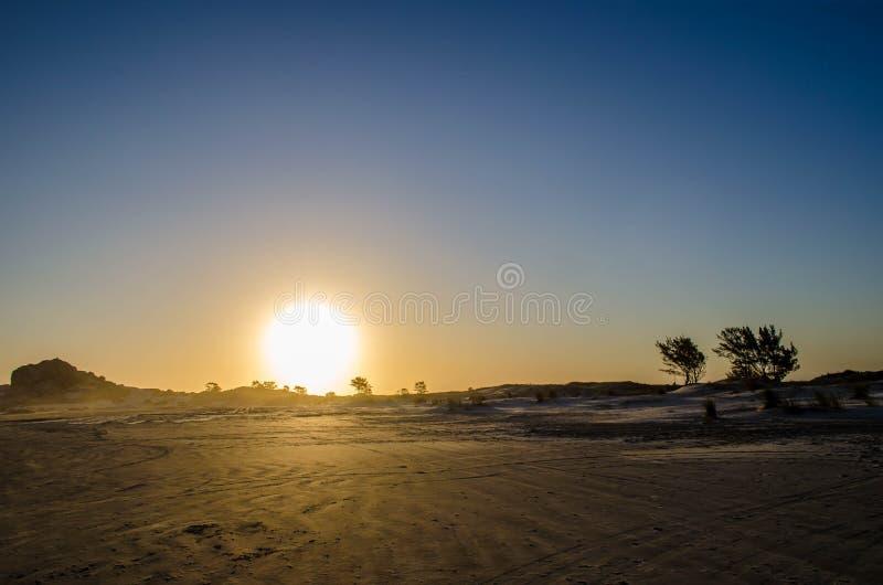 在海滩的日落在南巴西 免版税库存图片