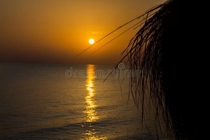 在海滩的日落,什么能更加美好? 免版税库存照片