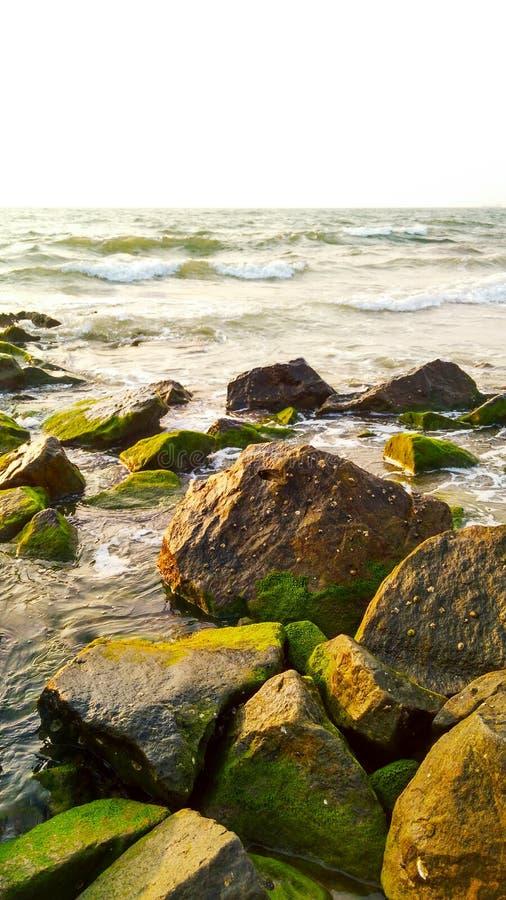 在海滩的晚上日落 免版税库存照片