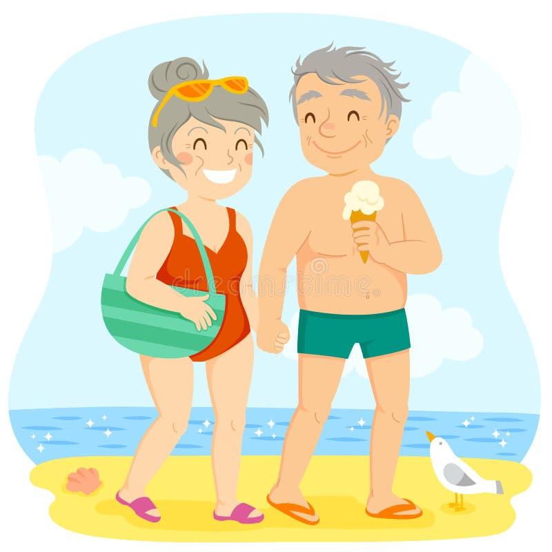 在海滩的更旧的夫妇 向量例证