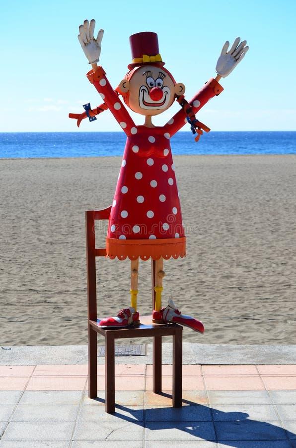 在海滩的木偶 库存照片