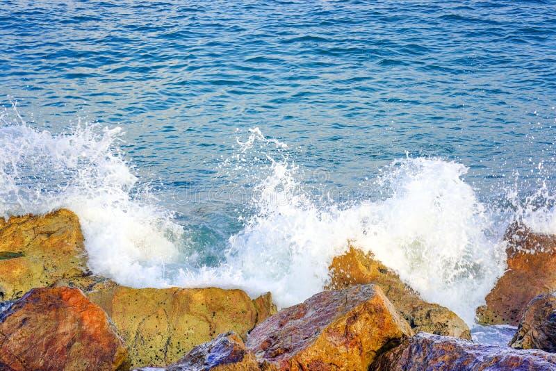 在海滩的波浪在刮风的天气 库存图片
