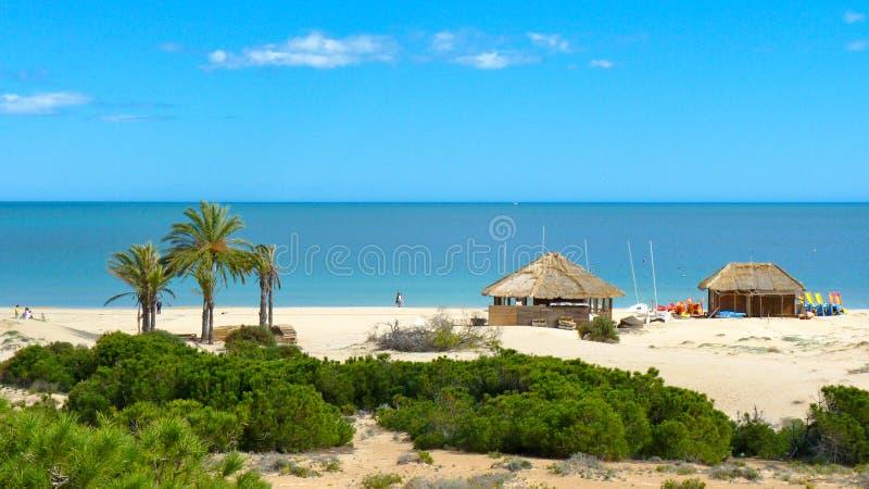 在海滩的海浪驻地 免版税库存图片