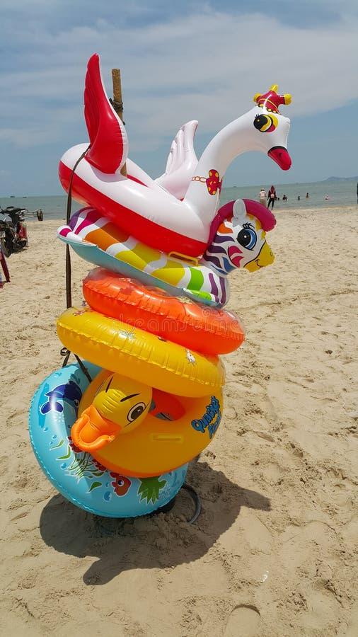 在海滩的游泳的浮游物 免版税库存照片