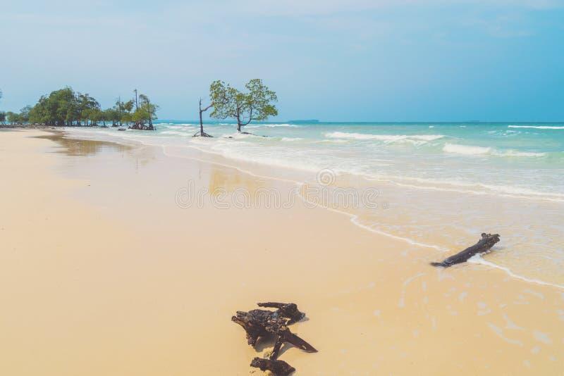 在海滩的白色干净的沙子荒岛 库存照片
