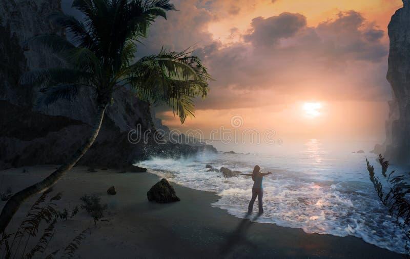 在海滩的称赞 免版税库存图片