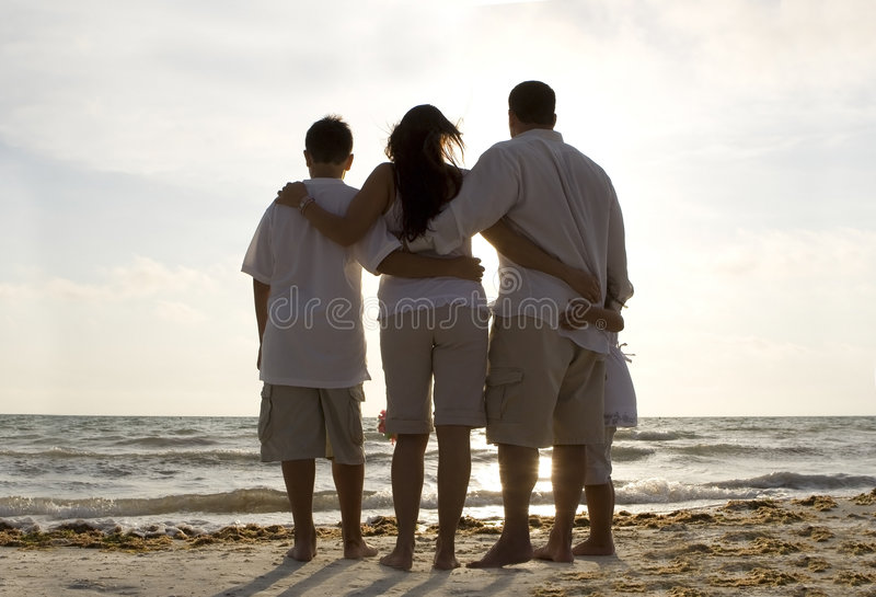 在海滩的系列时间 库存照片