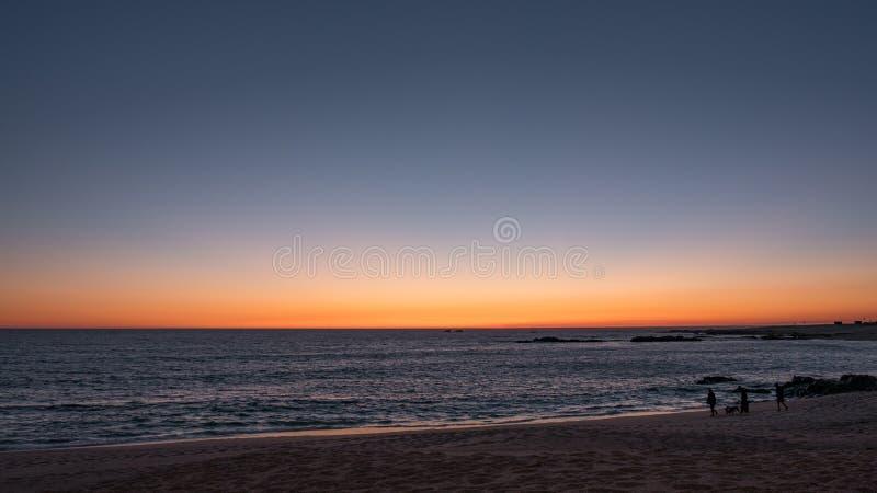 在海滩的美丽的梯度天空在日落在葡萄牙 在海岸线的现出轮廓的人走的狗 库存图片