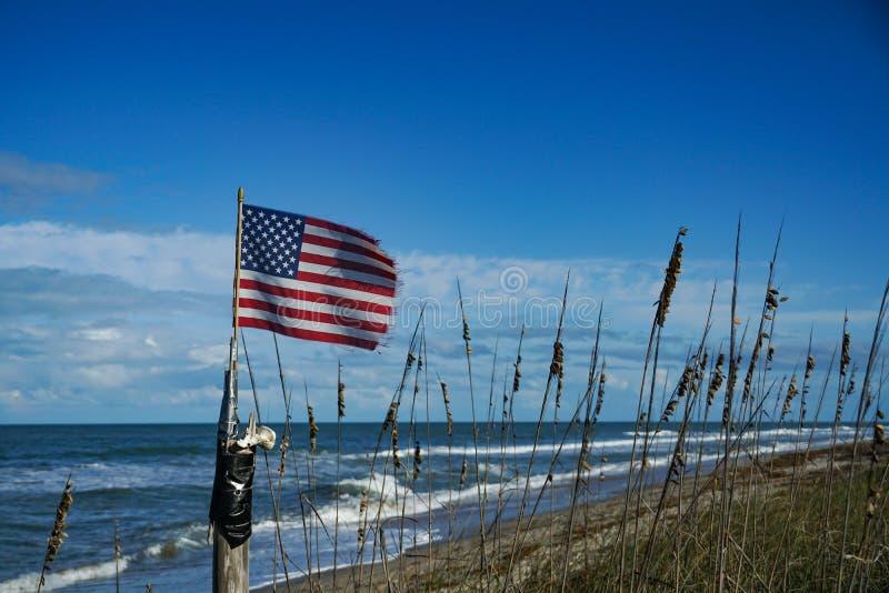 在海滩的美国国旗飞行 库存照片