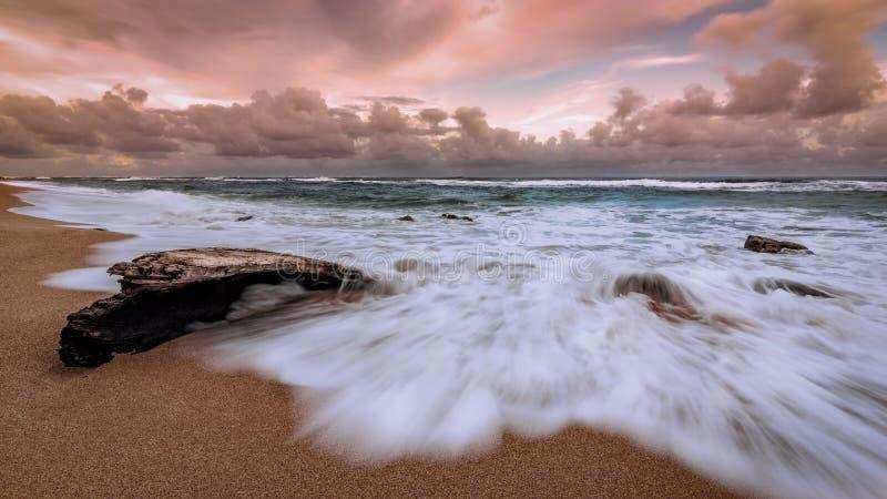 在海滩的考艾岛夏威夷日落 库存图片