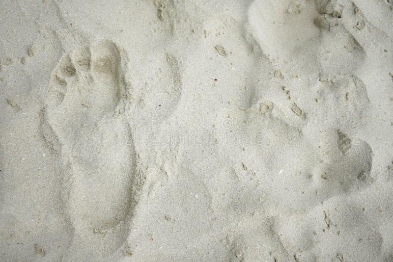 在海滩的脚印退色 免版税库存图片