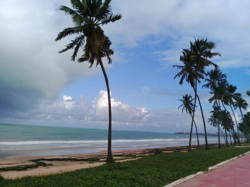 在海滩的阴天马塞约巴西 免版税库存图片