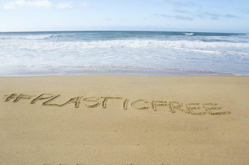 在海滩的plasticfree句子 库存照片