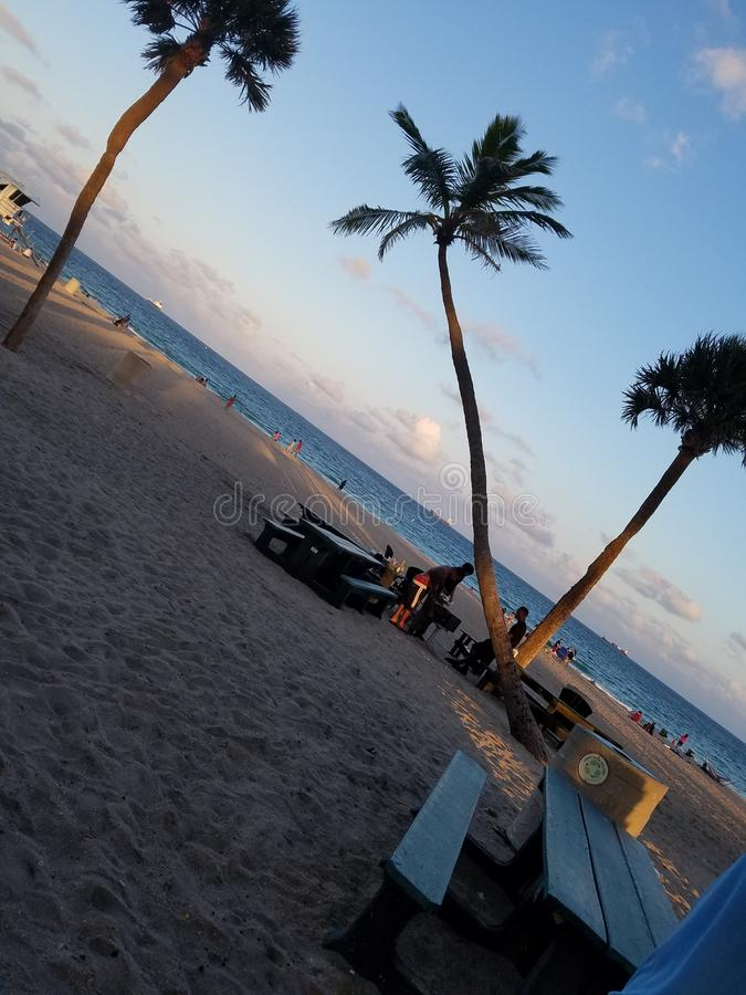 在海滩迈阿密今天佛罗里达的下午 库存照片