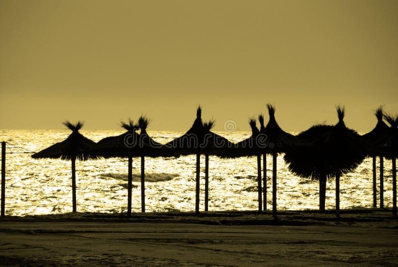 在海滩,马尔韦利亚,西班牙的现出轮廓的遮阳伞 免版税库存图片