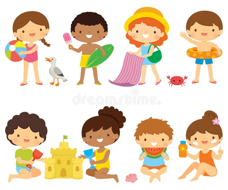 在海滩clipart集合的孩子 向量例证