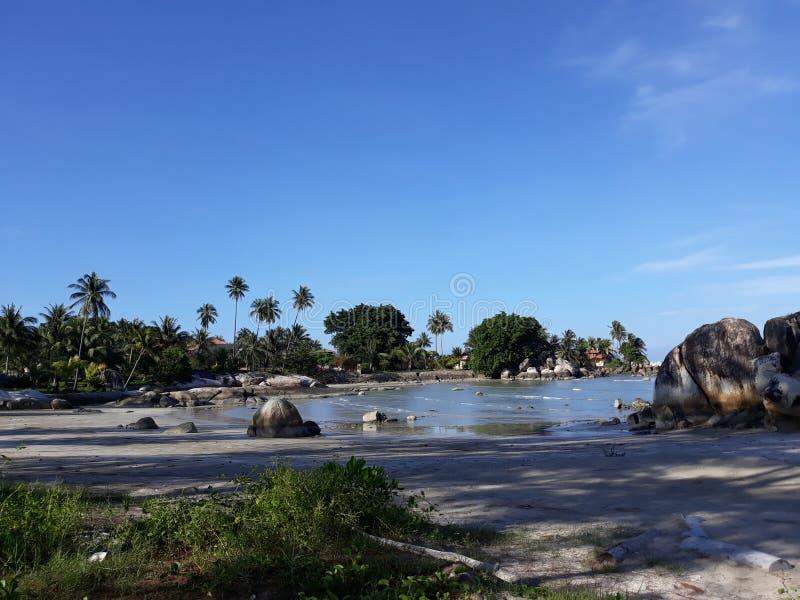 在海滩Parai Tenggiri的风景 免版税图库摄影