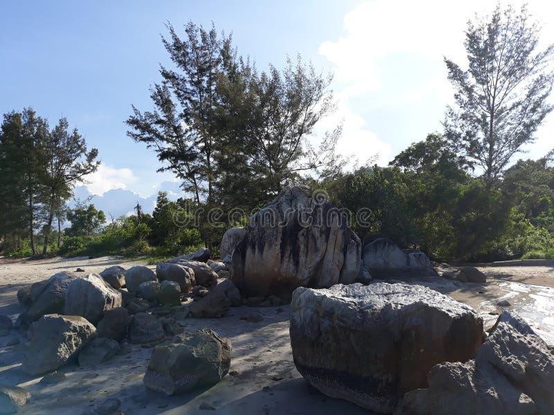 在海滩Parai Tenggiri的风景 库存图片