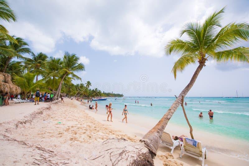 在海滩Playa Sirena,缓慢地Cayo的白色沙子和棕榈树,古巴 复制文本的空间 库存照片