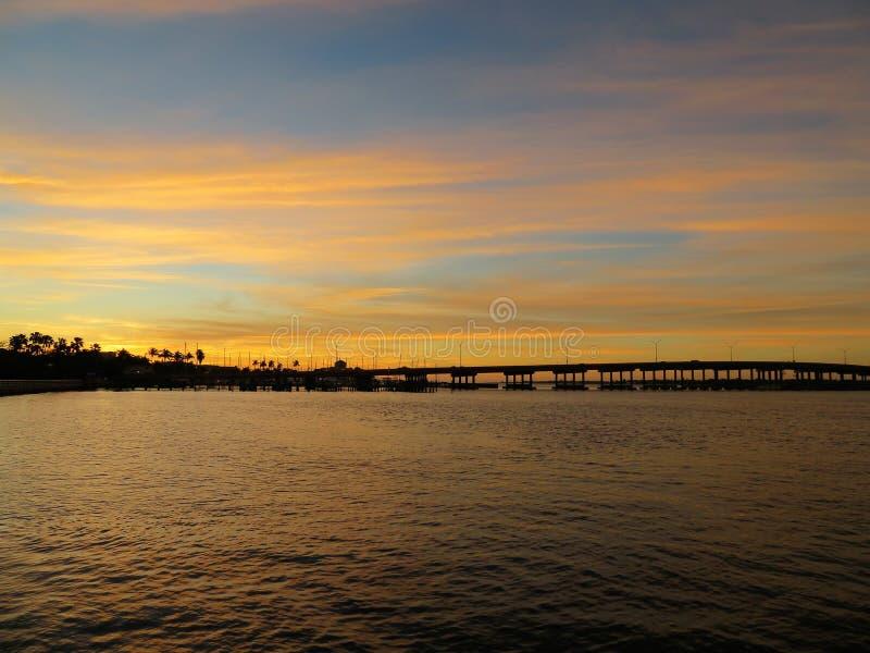 在海牛河的Sunseting 库存照片