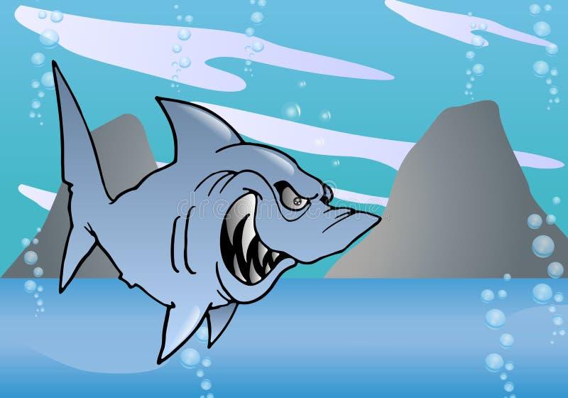 在海的丑陋鲨鱼 皇族释放例证
