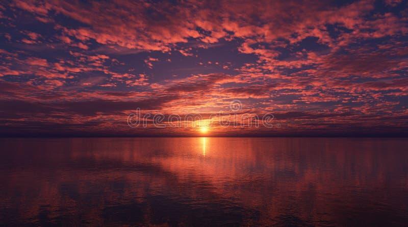 在海的云彩日落的 免版税库存照片