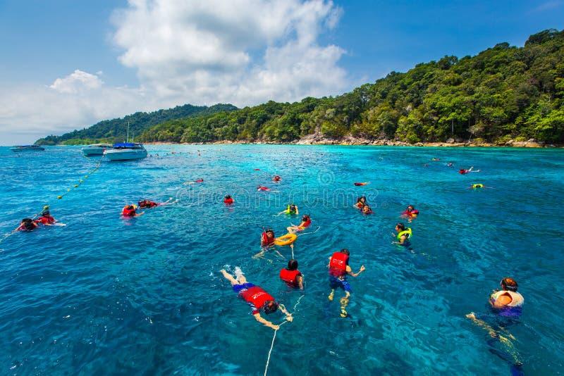 在海的亚洲潜航的队Similan海岛的 库存图片