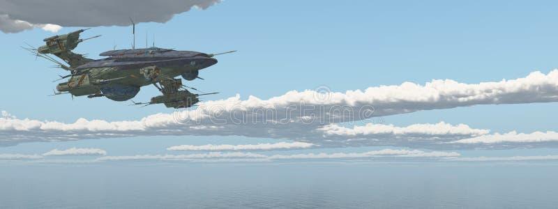 在海的巨大的航天器 皇族释放例证