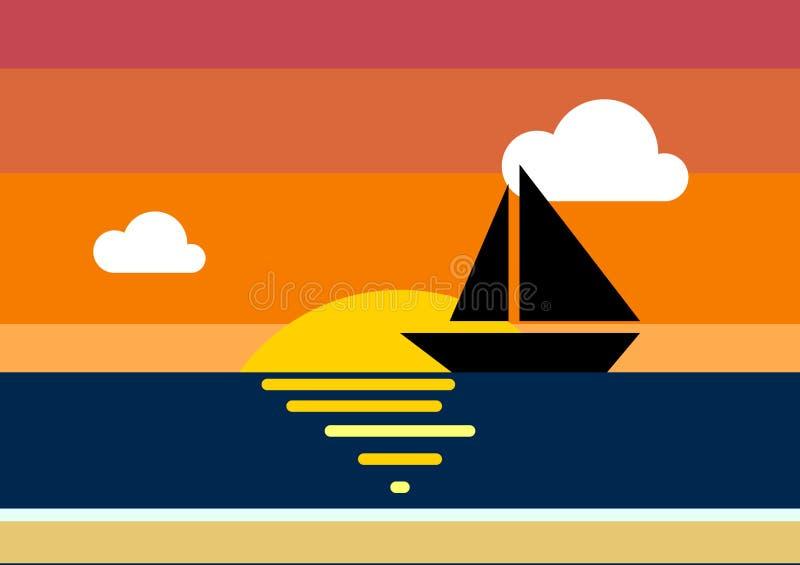 在海的日落有云彩的和网和印刷品的小船例证 免版税库存照片