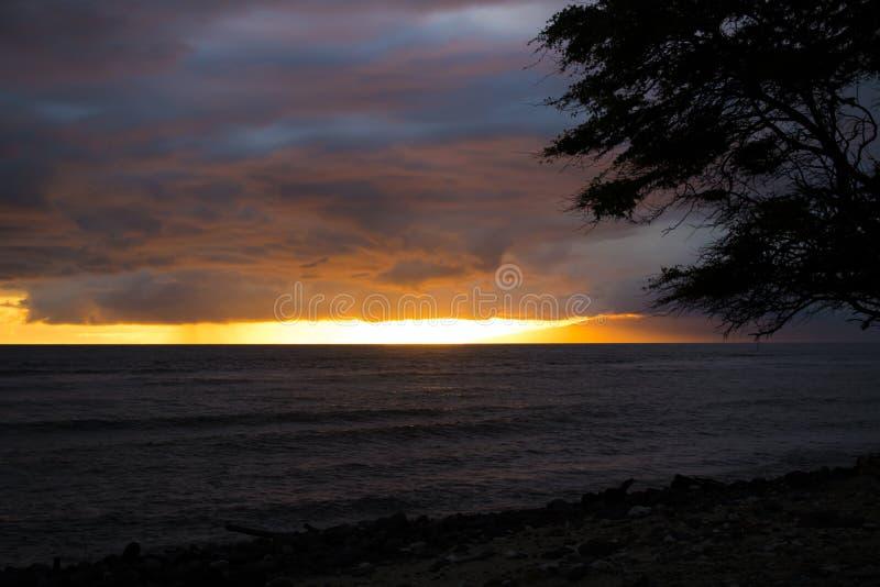 在海的日落背景有多云紫色天空的 免版税图库摄影
