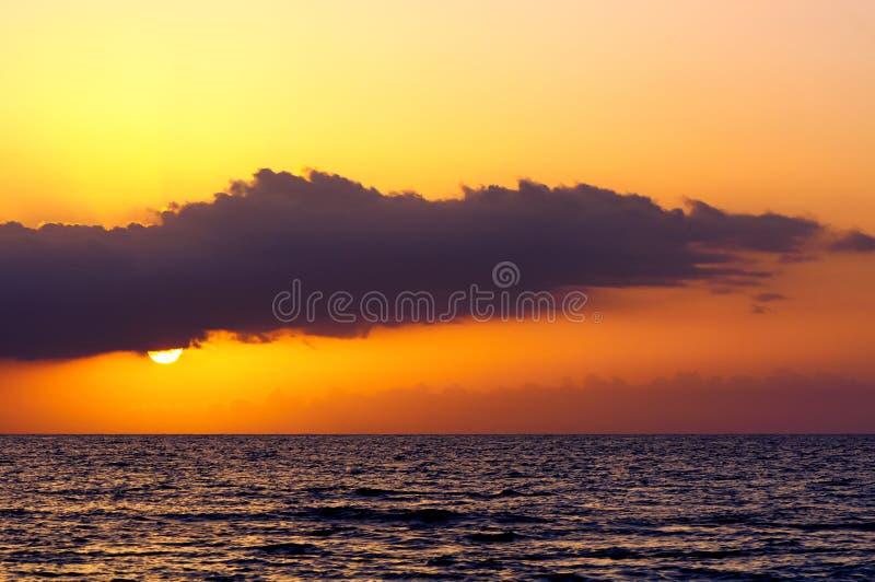在海的日落蒙特哥贝的,牙买加 库存图片