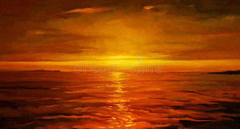 在海的日落,绘 库存例证