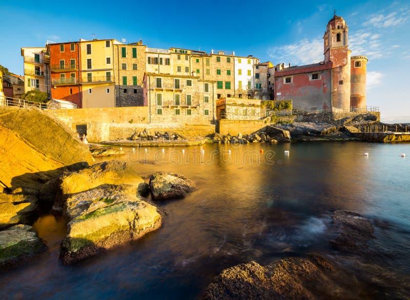 在海的日落, Tellaro,利古里亚,意大利 库存照片