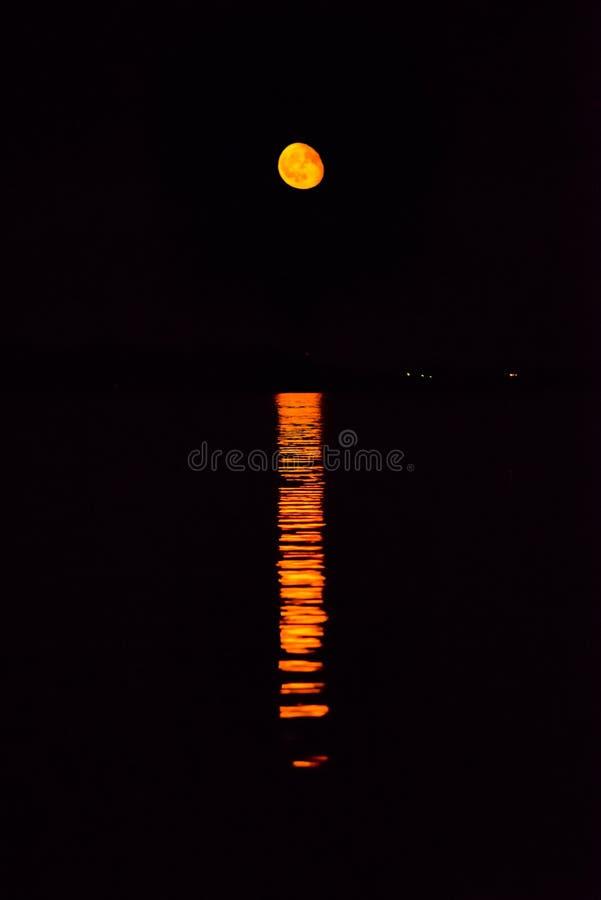在海的红色月亮上升 图库摄影