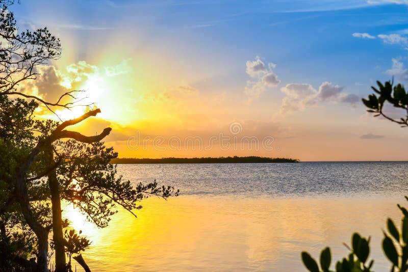 在海的美好的日落有清楚的天空的在基拉戈,佛罗里达 免版税库存图片