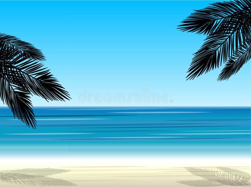 在海的背景的棕榈树 向量例证