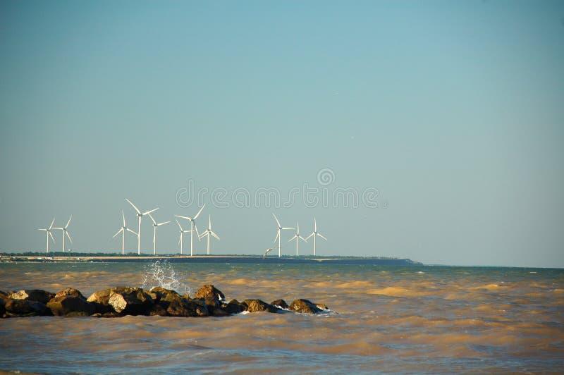 在海的风轮机 库存图片