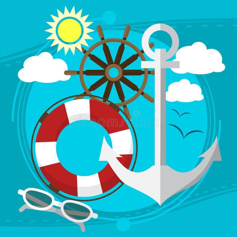 在海的晴朗的天气,在小船的游泳有在太阳镜的一根保险索的 海鸥在背景中 向量 皇族释放例证