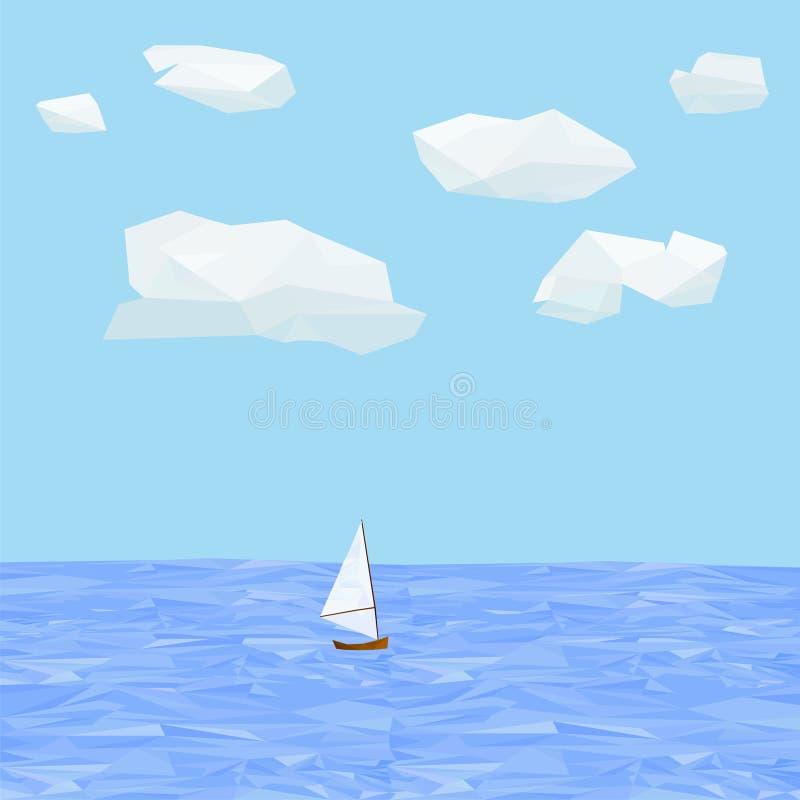 在海的Lowpoly风船 向量例证