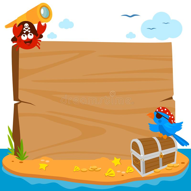 在海盗海岛上的木标志板 r 皇族释放例证