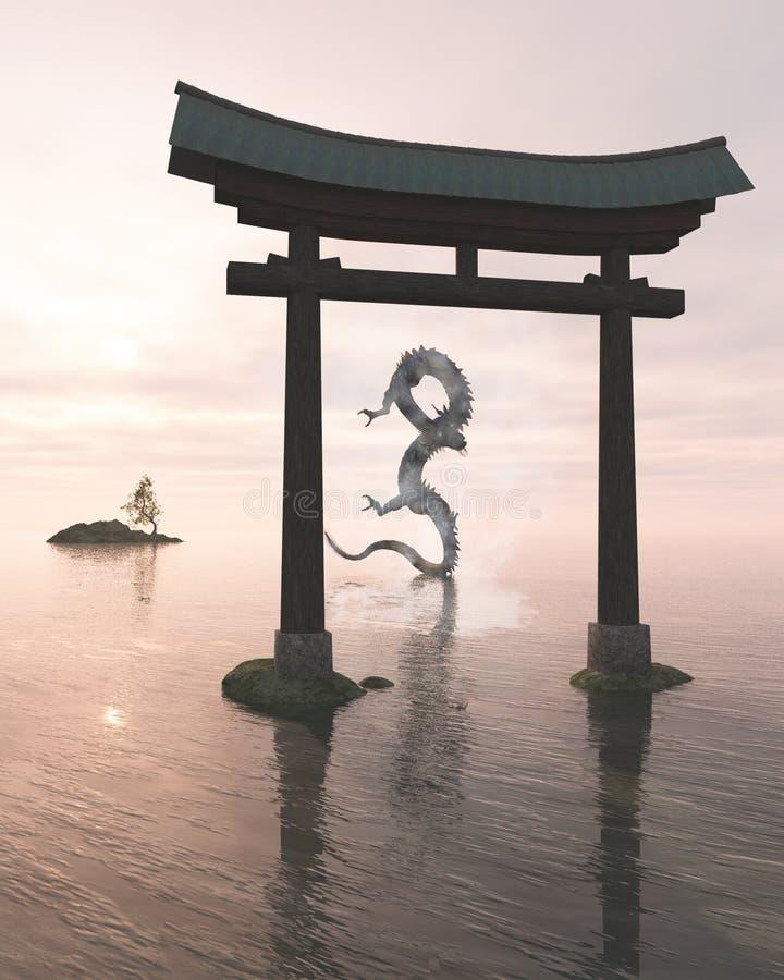 在海薄雾的东方龙在寺庙门后 皇族释放例证