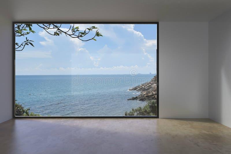 在海视图的生存室内空的顶楼混凝土 免版税库存图片